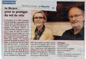 """""""Le bicycode pour se protéger du vol de vélo"""" (article Le Télégramme)"""