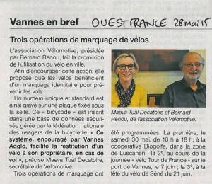 """""""Trois opérations de marquage de vélos"""" (article Ouest-France)"""