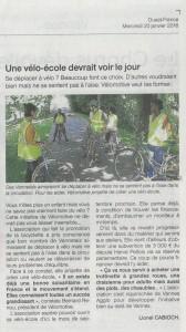 """""""Une vélo-école devrait voir le jour"""" (article Ouest-France)"""