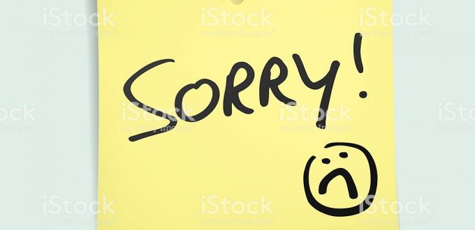 "Design element of a post-it note with the handwritten words: ""sorry"".  Eps 10 file contains transparencies."